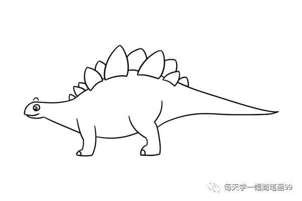 每天学一幅简笔画-恐龙简笔画剑龙的画法图片大全图片