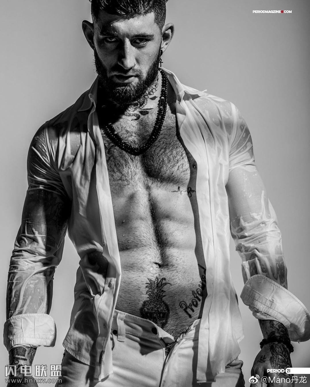 帅气欧美肌肉男帅哥性感黑白艺术写真照片
