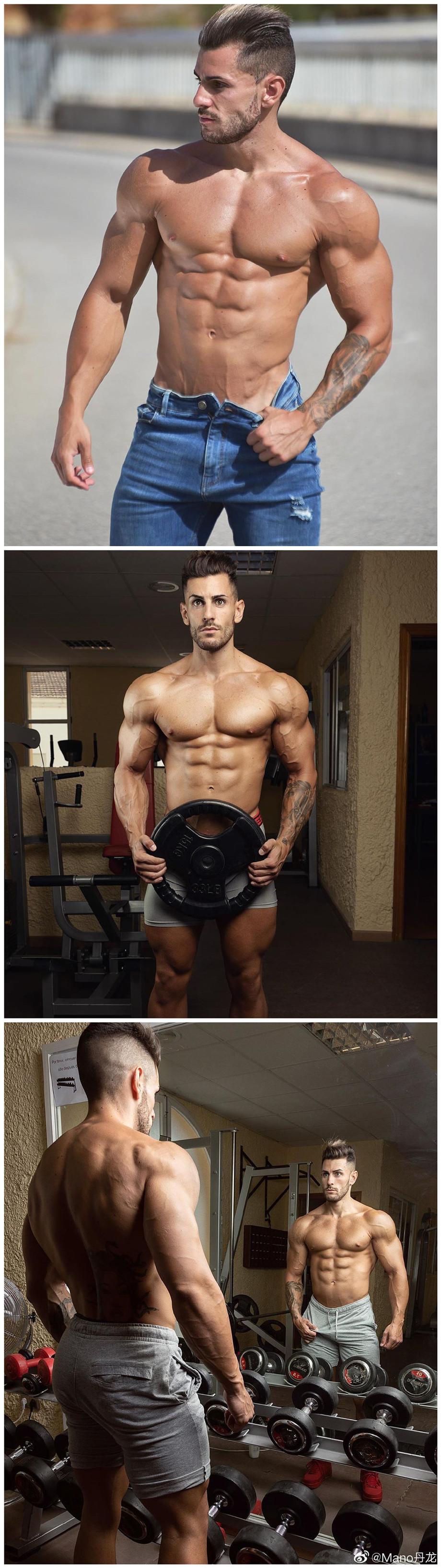 欧美健身肌肉帅哥户外写真图片